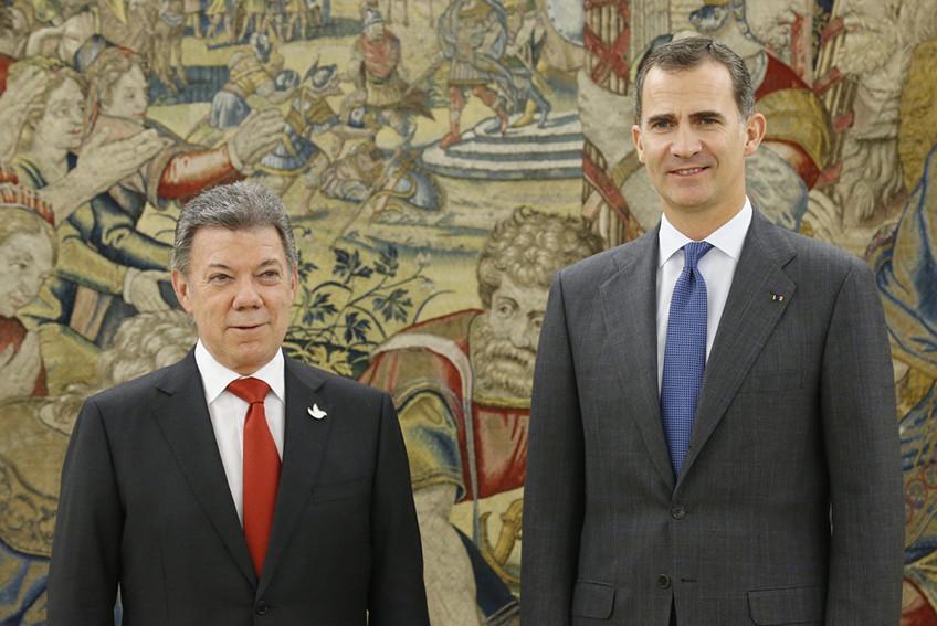 Felipe VI recibe al presidente de Colombia